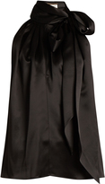 Saint Laurent Tie-neck silk-satin sleeveless blouse