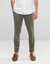 Asos Skinny Crop Smart Trousers In Khaki