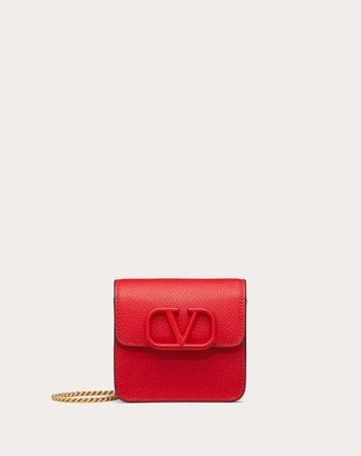 Valentino Compact Vsling Grainy Calfskin Wallet With Chain Strap Women Rouge Pur 100% Pelle Di Vitello - Bos Taurus OneSize