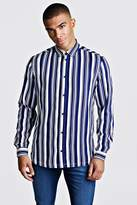 BoohoomanBoohooMAN Mens Navy Stripe Long Sleeve Shirt, Navy