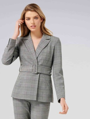 Forever New Simone Petite Belted Blazer - Check - 16