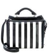 3.1 Phillip Lim Small Ryder Satchel Handbag In Black Leather With White Stipes
