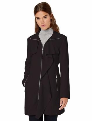 Karl Lagerfeld Paris Women's Garbine Ruffle Front Topper Coat