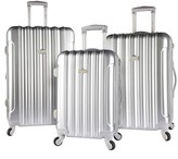 Kensie 3 pc Expandable Hardside Luggage Set - Silver