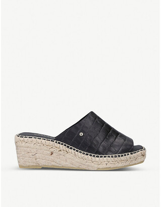 Carvela Konform croc-embossed leather wedge sandals