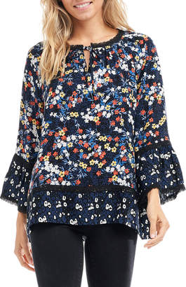 Fever Mixed-Print Tie-Neck Blouse