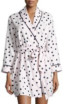 Kate Spade Dot-Print Flannel Short Robe, Pink Shadow
