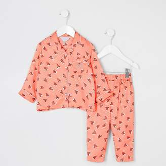 River Island Mini girls coral heart satin pyjamas