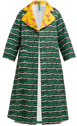 Rianna + Nina - Abstract-print Cotton-blend Coat - Womens - Green Multi