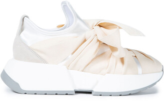 MM6 MAISON MARGIELA Bow-detailed Suede-trimmed Stretch-satin Exaggerated-sole Sneakers