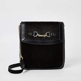 River Island Black leather chain front messenger bag