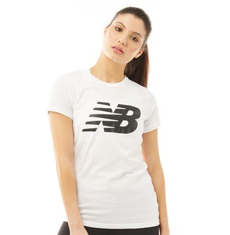 New Balance Womens Core Flying NB Logo T-Shirt White