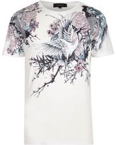 River Island MensWhite Oriental floral print t-shirt