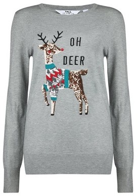 Dorothy Perkins Womens Tall Grey Oh Deer Christmas Jumper, Grey