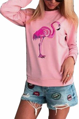 Zilcremo Women Casual Pullover Sweatshirts Tops Long Sleeve Flamingo Print Fleece Blouse Sweat-Shirt Top Pink M