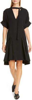 Proenza Schouler Buckle Strap Short Sleeve Crepe Dress