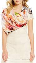 Reba Floral Square Silk Scarf