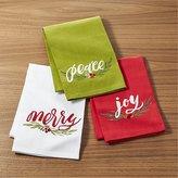 Crate & Barrel Season's Greetings Dish Towels Set of Three