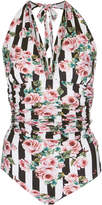 Dolce & Gabbana Striped Floral Print One-Piece