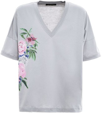 Mr & Mrs Italy Floral Prints T-shirt For Woman