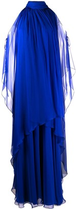 Alberta Ferretti Halter Neck Draped Silk Dress