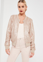 Missguided Nude Chevron Pattern Sequin Bomber Jacket