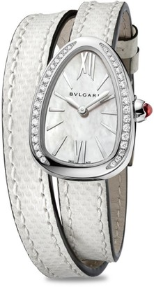 Bvlgari Serpenti Stainless Steel, Diamond & White Karung Strap Watch