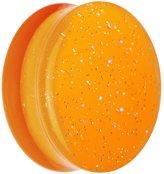 Body Candy Orange Neon Acrylic Glitter Saddle Plug (1 Piece) 26mm
