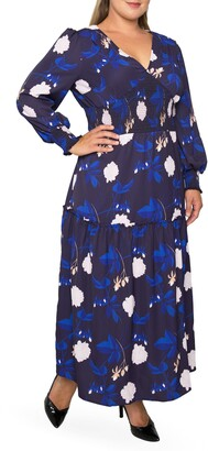 Standards & Practices Floral Smock Waist Long Sleeve Georgette Maxi Dress
