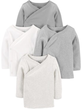 Carter's Baby Boys or Girls 4-Pack Side-Snap Cotton Shirts