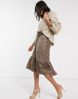 Y.A.S belted midi skirt with peplum hem in brown floral