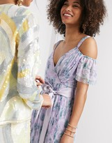 Anaya With Love tulle cold shoulder frill maxi dress in lilac floral print