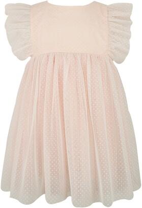Popatu Swiss Dot Flutter Sleeve Dress