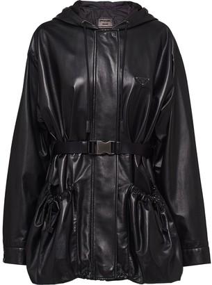 Prada Drawstring-Hood Belted Jacket