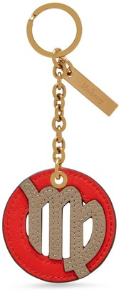 Mulberry Zodiac Keyring - Virgo Coral Red and Solid Grey