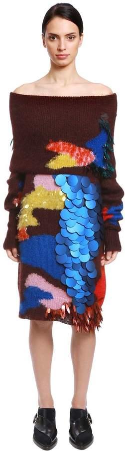 DELPOZO Sequined Mohair & Silk Sweater Dress