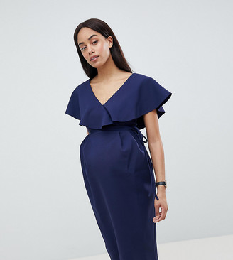 ASOS DESIGN Maternity Ruffle Wrap Midi Dress
