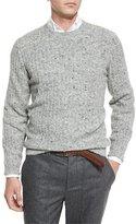 Brunello Cucinelli Donegal Crewneck Ribbed Sweater, Medium Gray