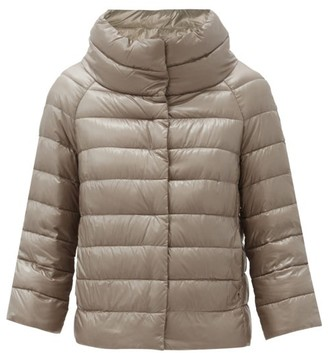 Herno Sofia Funnel-neck Quilted Down Jacket - Light Grey