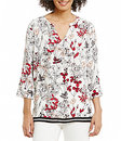 Preston & York-preston york leann split neck floral blouse