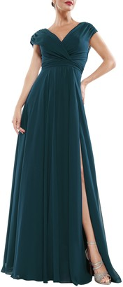 Marsoni By Colors Wide V-Neck Chiffon Gown