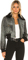 Understated Leather Spirit Bomber Jacket With Shearling Collar