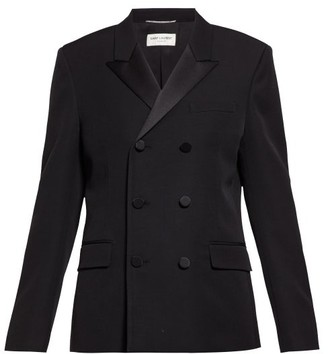 Saint Laurent Double-breasted Wool-twill Tuxedo Jacket - Womens - Black