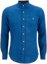 Polo Ralph Lauren Men's Slim Fit Long Sleeve Linen Shirt Chalet Blue