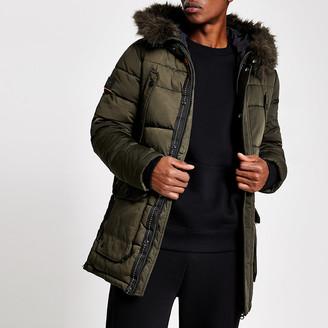 River Island Superdry khaki faux fur hooded parka jacket