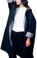 EYouth Womens Fashion Loose Rolled Sleeve Hoodie Long Denim Trench Coat Windbreaker