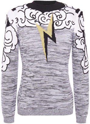 Alberta Ferretti Embroidered Marled Intarsia-knit Sweater
