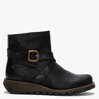 Fly London Sake Black Leather Ankle Boots