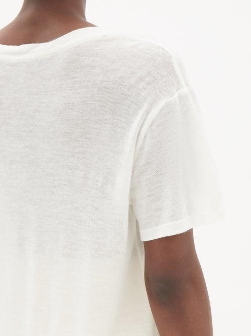 Thumbnail for your product : FRANCES DE LOURDES Johnny Cashmere-blend Jersey T-shirt - Ivory