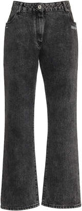 Off-White Cropped Mid-Rise Flared Jeans